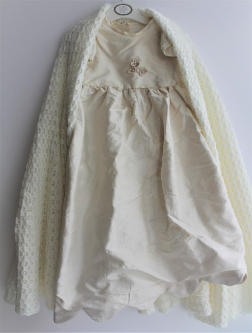The dress made out of my old dress by best friend and shawl made by D's aunt.